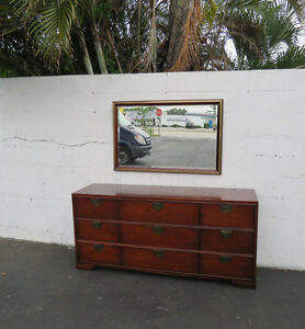 Hollywood Regency Modern Mahogany Long Dresser And Mirror By Thomasville 8480