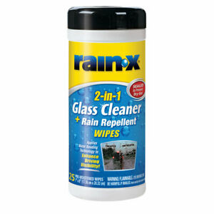 Rain X 630022 2 In 1 Glass Cleaner And Rain Repellent Wipes 25 Count
