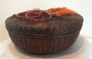 Antique Chinese Woven Sewing Basket Red Glass Ring Handles Beads Tassels 11 75 W