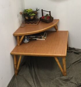 Mid Century Vintage Rattan Bamboo Square Two Tiered Side End Table Laminate Boho