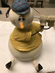 Roly Poly Snowman Winter Christmas Doll Holding Golf Club Bobble Head