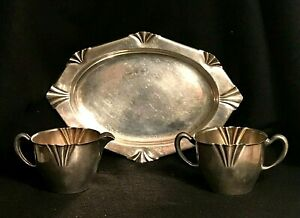 Vintage Sterling Silver Sugar Bowl Creamer With Tray By Weidlich