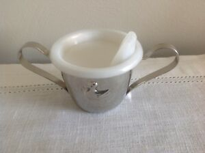 Silver Plated Baby Cup With Plastic Sippy Lid Duck Design