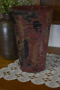 New Primitive Country Farmhouse Galvanized Red Bucket Pail Container Home Dec