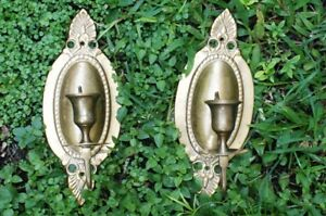 Vintage Pair Brass Shelf Wall Sconce For Candle Ornate N R