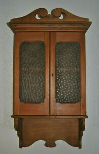Antique Vintage Quality Pine Wall Hanging Spice Storage Cabinet