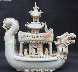 11 Chinese Palace Porcelain Carved Dragon Dragons Loong Boat Ship Human Statue