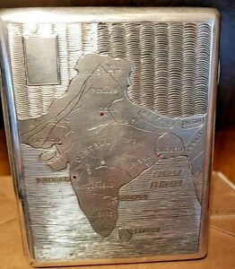 Antique Sterling Silver Cigarette Box With Engraved Taj Mahal And Map Of India