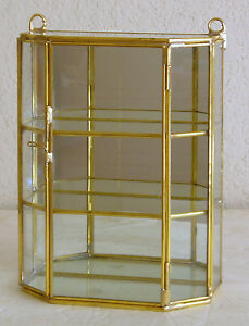 Glass Brass Small Curio Display Cabinet