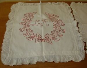 2 Antique Linen Turkey Red Embroiderred Ruffled Pillow Shams Matching