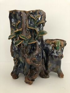 Vintage Chinese Double Yixing Shuchuang Clay Twin Tree Form Vase 9