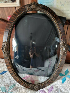 Antique Domed Convex Bubble Glass Floral Carved Wood Frame 24x16