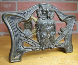 Old Owl Expandable Bookends Book Rack Ornate High Relief Judd Mfg Co Art Nouveau