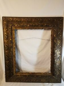 Vintage Maybe Antique Wood With Metal Covering Ornate Picture Frame Large As Is