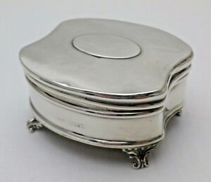 Antique Solid Sterling Silver Jewellery Ring Box On Four Feet B Ham 1910