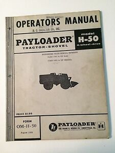 Ih International Hough H 50 Front end Wheel Pay Loader Tractor Operator s Manual