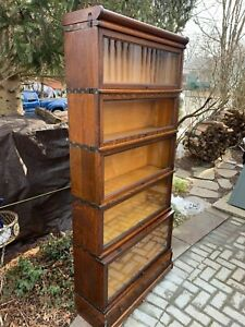 Antique Barrister Bookcase Globe Wernicke Tiger Oak