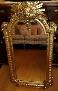 Vtg King Louis Xiv Mirror Vincenzo Fancelli Gold Leaf Carved Wood Versace Style
