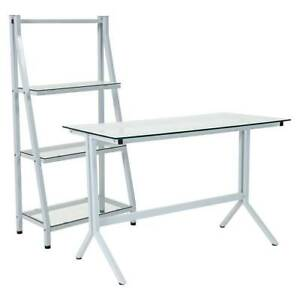 Metal Computer Desk And Bookshelf In Clear And White Finish id 3807242