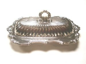 Leonard Silverplate Coverd Butter Dish Glass Liner Holds A European Size Cube
