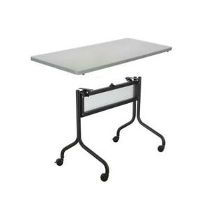 Safco Impromptu 48w Rectangle Mobile Training Table In Black With Gray Top