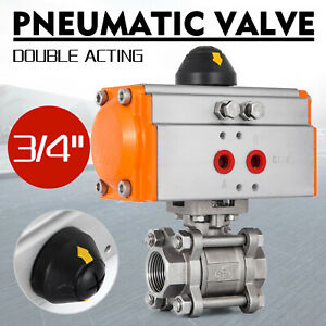 3 4 Pneumatic Ball Valve Double Acting 3 piece Dairy Pressure Valve Water