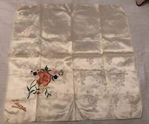 Antique Embroidered Silk Scarf Tablecloth Roses From China Korean War