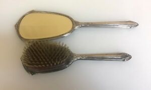 Beautiful Antique Saart Sterling Silver Matching Hair Brush And Handheld Mirror