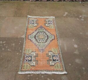 Hand Knotted Orange Turkish Turkoman Vintage Area Kilim Rug 1 61x3 35 Ft