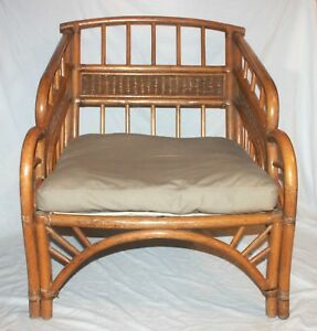 Vintage Ornate Rattan Bamboo Wicker Tiki Lounge Chair Chinoise Asian Mid Century