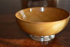 1940 S M Fred Hirsh Co Wood With Sterling Silver Base Salad Fruit Bowl 9 5 D