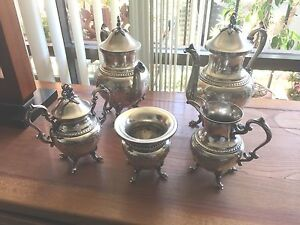 Silver Plate Tea Service Five Pc Hand Chased Birmingham