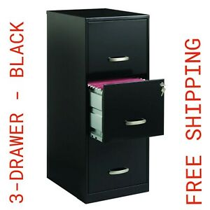 Steel 3 drawer Vertical File Cabinet 18 d X 35 5 h Locking Black