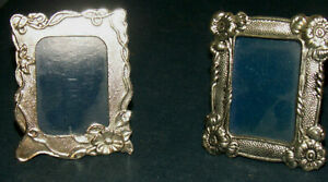 2 Adorable Tiny Vintage Silver Metal 1 1 2 X 2 Picture Photo Frames