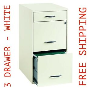 3 Drawer File Cabinet Steel Filing Locking Security Home Office Furniture White