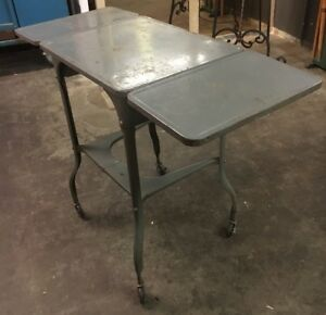 Vintage Metal Utility Foldable Two layered Rollable Tray Cart Portable Bench