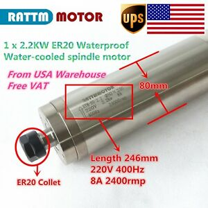 usa Stock 2 2kw 246mm Waterproof Er20 Water Cooled Spindle 220v For Cnc Router