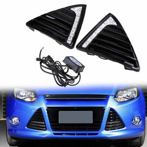 Fit For Ford Focus Seda 2011 2014 Led Light Drl Style Front Bumper Grill Cover