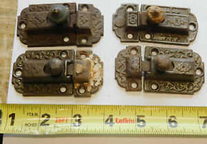 4 Antique Cast Iron Brass Cabinet Cupboard Latches Eastlake 1880 S Sets Pair Old