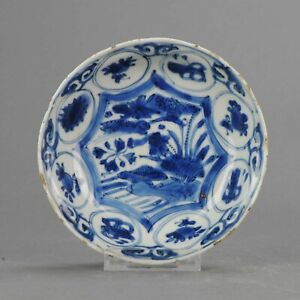 Antique Chinese Porcelain 17th C Kraak Porcelain Dish With Ducks