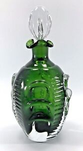 Vintage Mid Century Swedish Emerald Green Hand Blown Glass Decanter