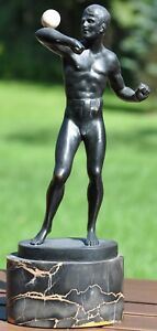 Bruno Zach Austrian Bronze Statue Athlete Ball Juggler Black Patina