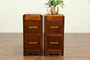Pair Of Art Deco Waterfall Vintage 1930 S Mahogany Nightstands 30608
