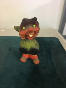 Henning Carved Wood Troll Gnome 5 Red Faced Happy Troll With Hands In Pocket