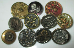 Lot 11 Small Antique Victorian Era Mixed Metal Flower Buttons Tints Twinkle