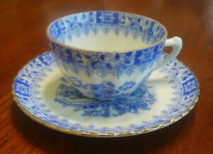 Vtg Eggshell Porcelain Blue White Ribbed Demitasse Cup Saucer Japanese Design