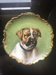 Limoges Stunning Flambeau L D B C Portrait Hunting Dog Charger Plate Signed