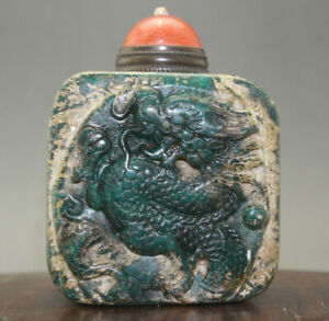 Chinese Hand Carved Dragon Old Jade Snuff Bottle Jade Seal Shape C237