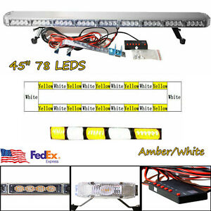 45 78 Led Light Bar Tow Truck Roof Top Strobe Flashing Bar Amber white 234w