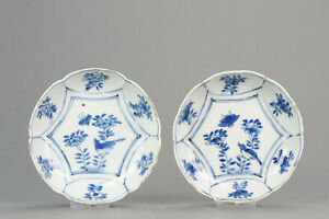 Antique Chinese Porcelain 17th C Kraak Porcelain Dish With Birds